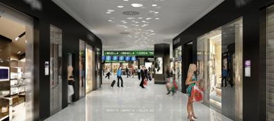 Un rendering della nuova galleria commerciale a Malpensa
