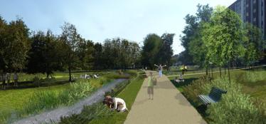 Un rendering del progetto «Le Vie d'Acqua»