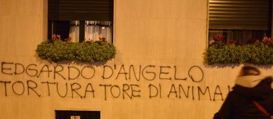 Una scritta apparsa sotto casa di Edgardo D'Angelo, ex docente di Fisiopatologia (Fotogramma)