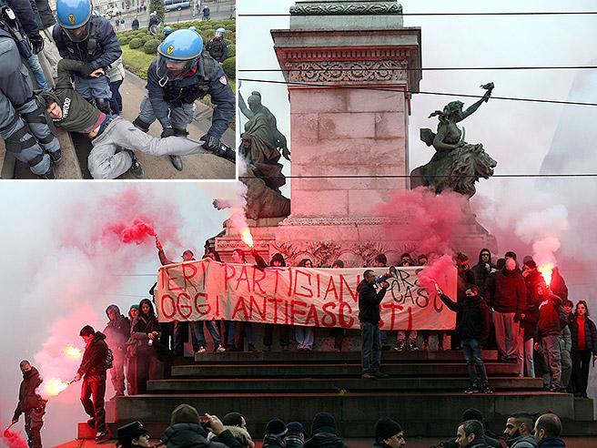 Scontri corteo Milano, tensioni con la polizia al presidio degli antifascisti contro Casapound